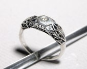 Sterling Silver and Diamond Filigree Ring