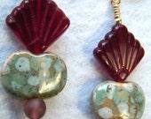 Art Deco Inspired Black Cherry Glass and Teal Ceramic Earrings