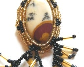 Necklace of Picture Jasper with Bead Embroidery