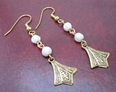Gold Fan Shape Dangle Earrings (296)