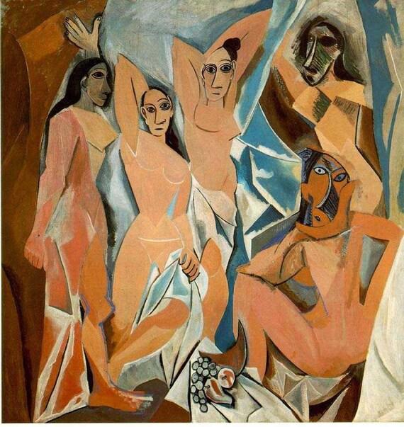 Les Demoiselles d'Avignon by Pablo Picasso on mono deluxe Needlepoint Canvas