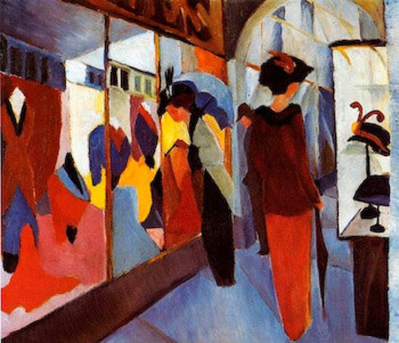 The Fashion Shop by August Macke mono deluxe Needlepoint Canvas