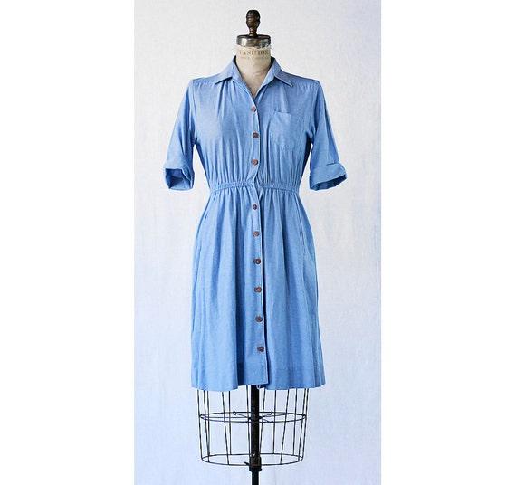 SALE - I'm so Blue Vintage Shirt Dress  Small - Medium