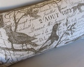 BIRDS in Tea Leaves large sofa pillow 13x26 with insert