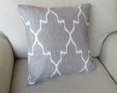 Ikat Linen on White pillow cover 18x18 WITH INSERTsame fabric front and back featured in Better Homes and Gardens Magazine dec 2011