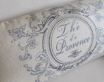 Provence Motif french country pillow dark blue  13x25 insert included