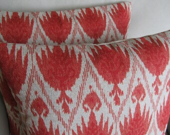 Ikat Coral on linen flax field Pair of Pillow Covers  20 inches