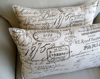 French Script  Lumbar pillows PAIR 10x20