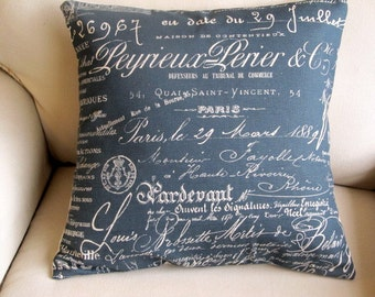 BLUE French Script Pillow Cover 18x18 20x20 22x22 24x24 26x26