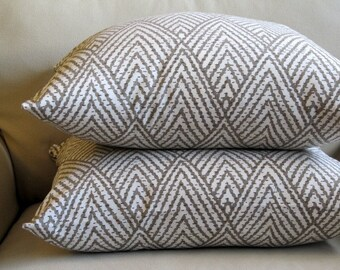 PAIR EURO pillow covers Ikat Taupe  26x26