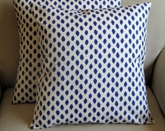 A pair Indigo Blue Dots pillows 18s with inserts