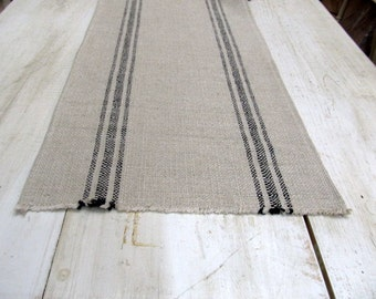 FRENCH LAUNDRY Parisian Stripe Black On clay  Tablerunner