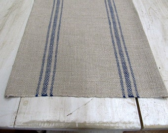 FRENCH LAUNDRY Parisian Stripe Blue On clay  Tablerunner