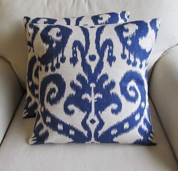 20x20 Ikat Indigo Blue Pair of Pillow Covers
