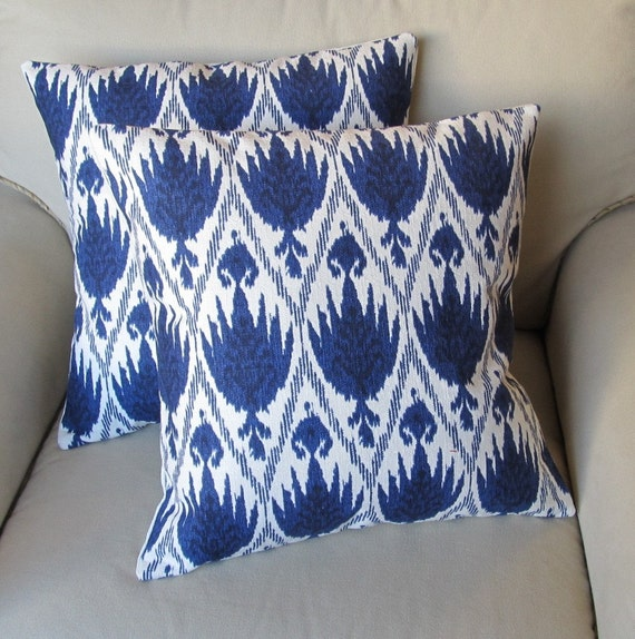 Ikat Indigo Blue  on White flax Pair of Pillow Covers 20x20