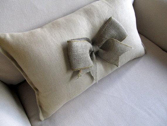 burlap bow on linen pillow