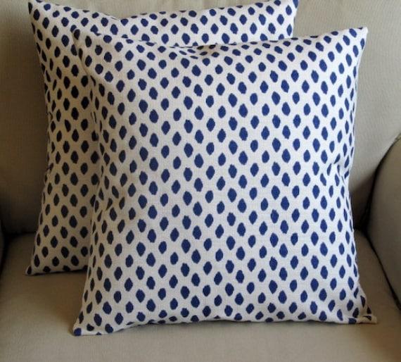 PAIR decorative pillow covers Indigo Blue Dots 18x18 20x20 22x22 24x24 26x26