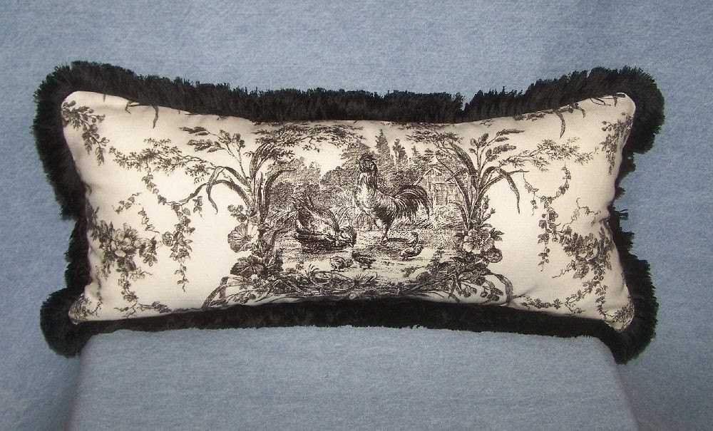 black and white toile lumbar pillow. Black Bedroom Furniture Sets. Home Design Ideas