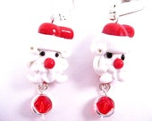HALF OFF SALE- Sarovski Crystal Santa Earrings