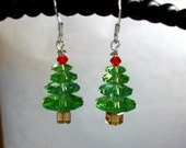 HALF OFF SALE- Peridot Swarovski Crystal Christmas Tree Earrings