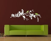 Cherry Blossom Branch with 2 little birds vinyl wall decal