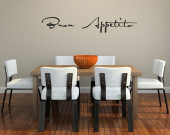 Buon Appetito script Vinyl Wall Decal (large in basic black)
