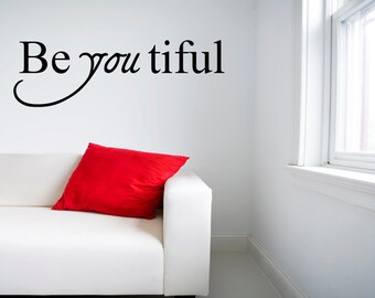Beautiful wall decal quote  vinyl wall decal - small