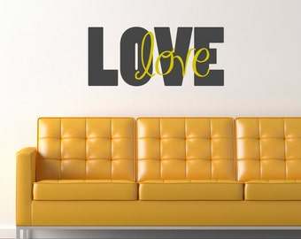 LOVE love wall decal quote  vinyl wall decal - small