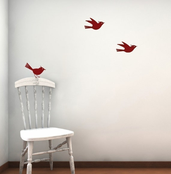 Sale 3 little birds vinyl wall decal  in CHERRY ONLY