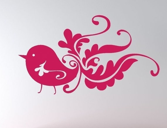 Cute little funky bird vinyl wall decal Sale item TEAL only