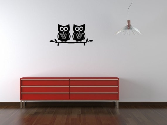 Two owls on a branch vinyl wall decal smaller size in NIGHT BLACK