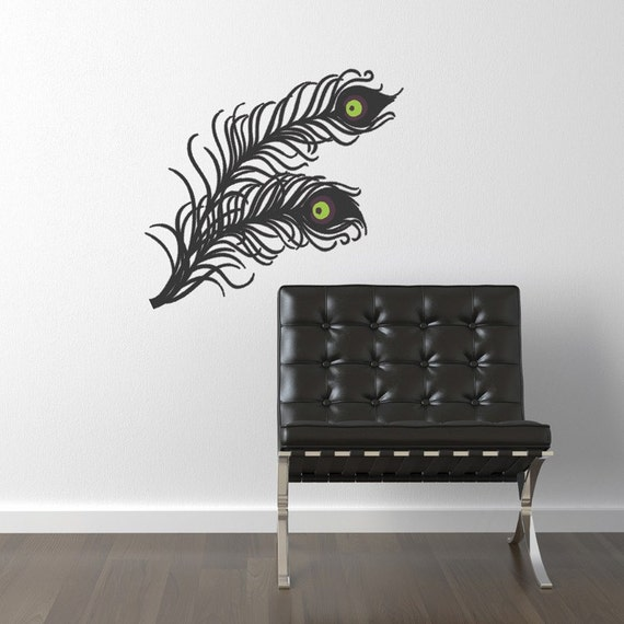 items similar to peacock feathers vinyl wall decal 3 color small size on etsy. Black Bedroom Furniture Sets. Home Design Ideas