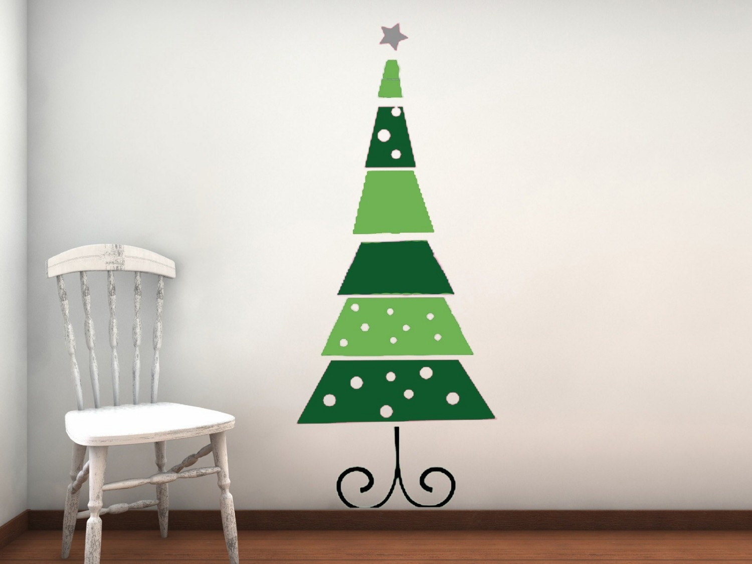Funky retro christmas tree vinyl wall decal by for Christmas wall mural plastic