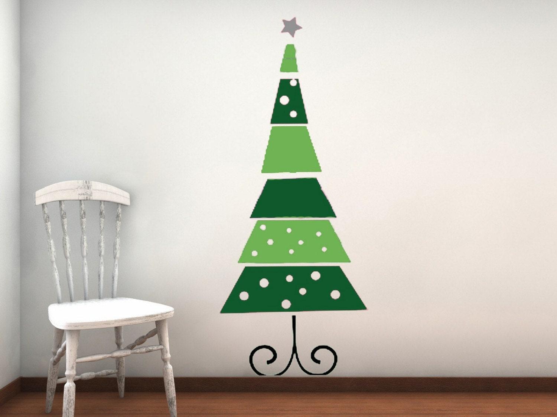 Funky retro christmas tree vinyl wall decal - Arboles de navidad originales ...