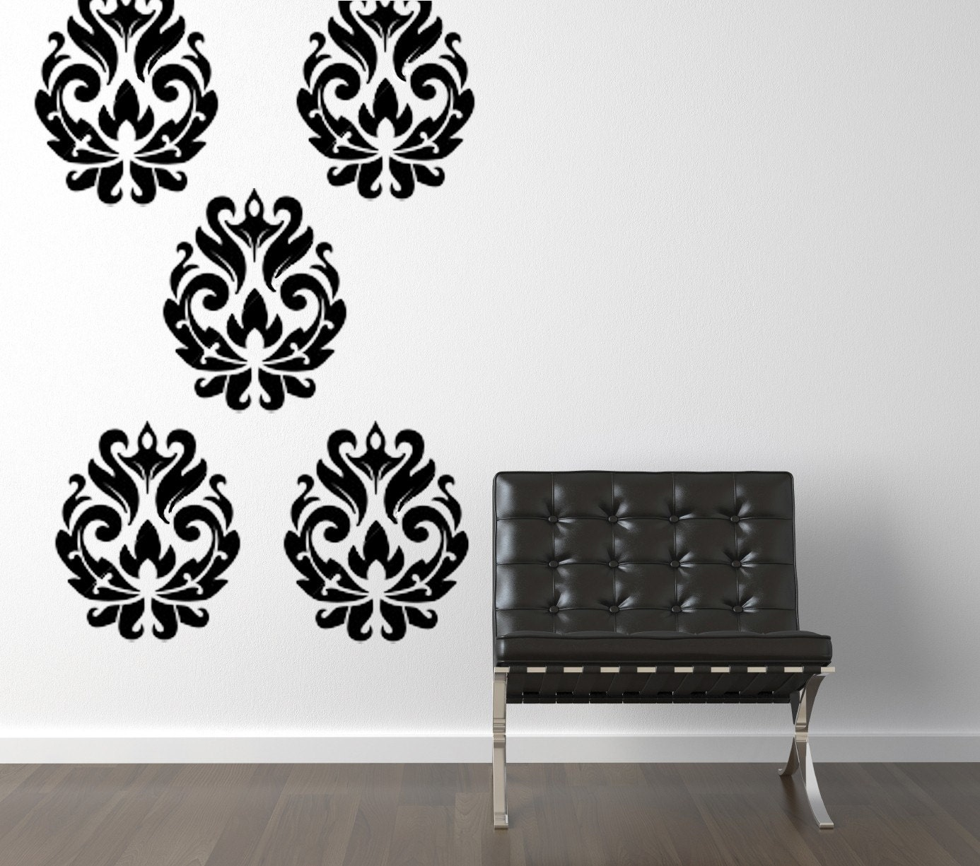 Items similar to damask brocade vinyl wall decal set on etsy for Damask wall mural