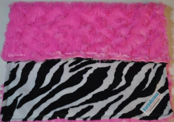 Zebra and Pink Minky lovey Blanket