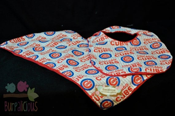 Chicago Cubs Bib and Burp clot set