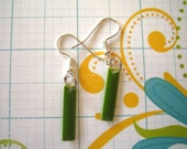 Bright Green Enamel coated metal earrings. FREE SHIPPING