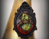 Personal Zombie Jesus with crown of thorns Hand painted Pendant with Necklace
