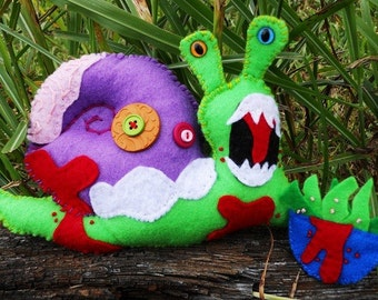 George the Zombie Snail ZOMBITTY Plush Eco friendly