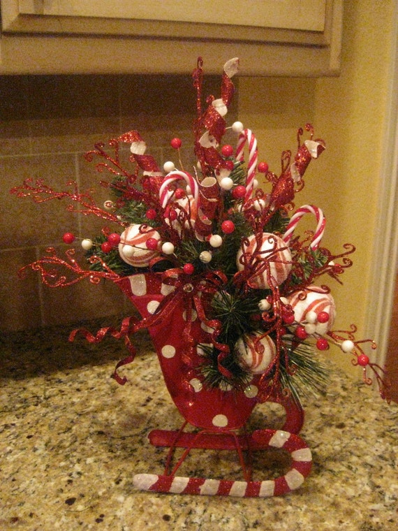 Candy cane sleigh arrangement by kristenscreations on etsy