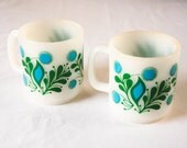 Mid-Century Green and Turquoise Floral Milk Glass Mugs