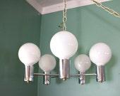 Vintage Chrome Swag Hanging Chandelier Lamp 60s 70s