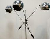 Vintage Mid Century Modern 3 Head Chrome Ball Floor Lamp Eames Era