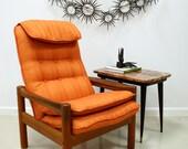 Danish Modern Orange and Teak Button Tufted Lounge Chair