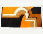 Vintage Mid Century Modern Scandinavian Orange Shag Rug