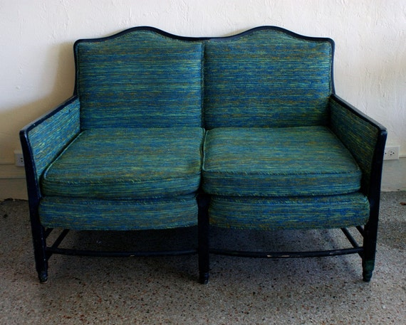 Vintage Teal And Blue Anthropologie Style Love Seat Sofa With