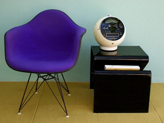 On hold. Mid Century Modern Smokey Black Lucite End Table with Magazine Slot