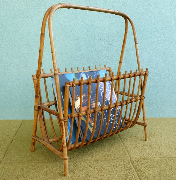 Vintage 60's Rattan Exaggerated Handle Magazine and Book Rack