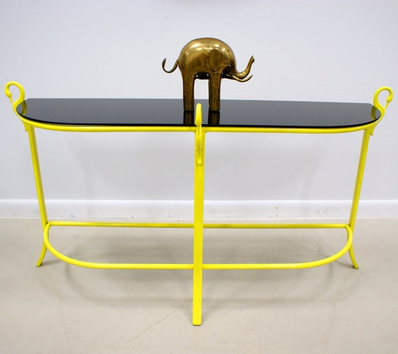 Items similar to fabulous vintage hollywood regency bright for Sofa table yellow